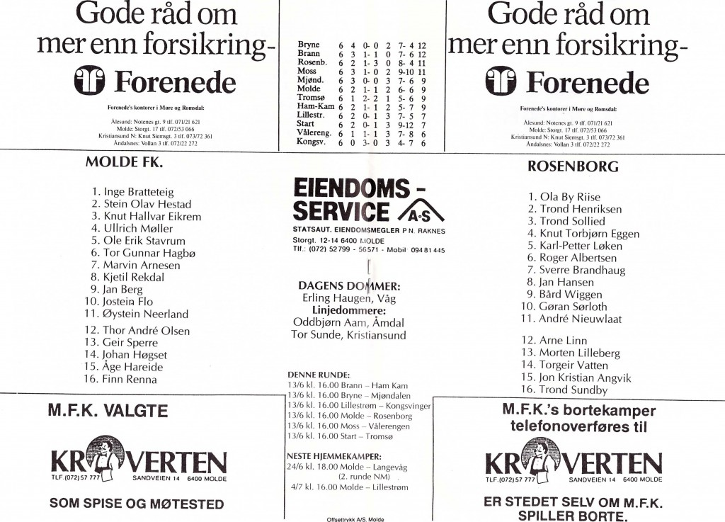 Kampprogram Molde Rosenborg s4 og s5